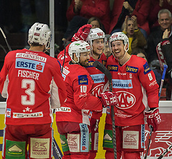 31.03.2019, Stadthalle, Klagenfurt, AUT, EBEL, EC KAC vs Moser Medical Graz 99ers, Halbfinale, 2. Spiel, im Bild David FISCHER (EC KAC, #3), Andrew KOZEK (EC KAC, #10), Nick PETERSEN (EC KAC, #8), Adam COMRIE (EC KAC, #44) // during the Erste Bank Icehockey 2nd semifinal match between EC KAC and Moser Medical Graz 99ers at the Stadthalle in Klagenfurt, Austria on 2019/03/31. EXPA Pictures © 2019, PhotoCredit: EXPA/ Gert Steinthaler