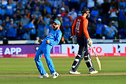 Wicket - Virat Kohli (captain) of India celebrates after Joe Root of England is bowled by Yuzvendra Chahal of India during the International T20 match between England and India at the SWALEC Stadium, Cardiff, United Kingdom on 6 July 2018. Picture by Graham Hunt.