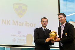 Aleksander Ceferin, president of NZS  and Stipe Jeric of NK Maribor during draw of Prva liga Telekom Slovenije and Slovenian Cup 2015 organised by Football Association of Slovenia NZS on June 30, 2014 in Kongresni centre, Brdo pri Kranju, Slovenia. Photo By Vid Ponikvar / Sportida