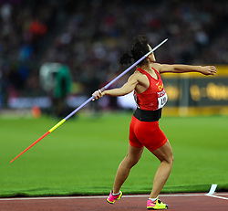 London, August 08 2017 . Lingwei Li, China, in the women's javelin final on day five of the IAAF London 2017 world Championships at the London Stadium. © Paul Davey.
