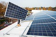 Nederland, Driebergen, 23 okt 2012.Op het dak van basisschool de Vurvogel worden zonnepanelen gelegd. Daarmee wordt de school duurzaam. .Foto copyright: Michiel Wijnbergh