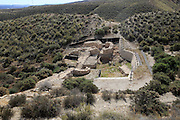 Entrance and defensive walls Los Millares prehistoric Chalcolithic settlement archaelogical site, Almeria, Spain