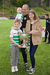 RHOSYMEDRE, WALES - Sunday, May 5, 2019: The New Saints' assistant manager Steve Evans with his family and the trophy after the FAW JD Welsh Cup Final between Connah's Quay Nomads FC and The New Saints FC at The Rock. The New Saints won 3-0. (Pic by David Rawcliffe/Propaganda)