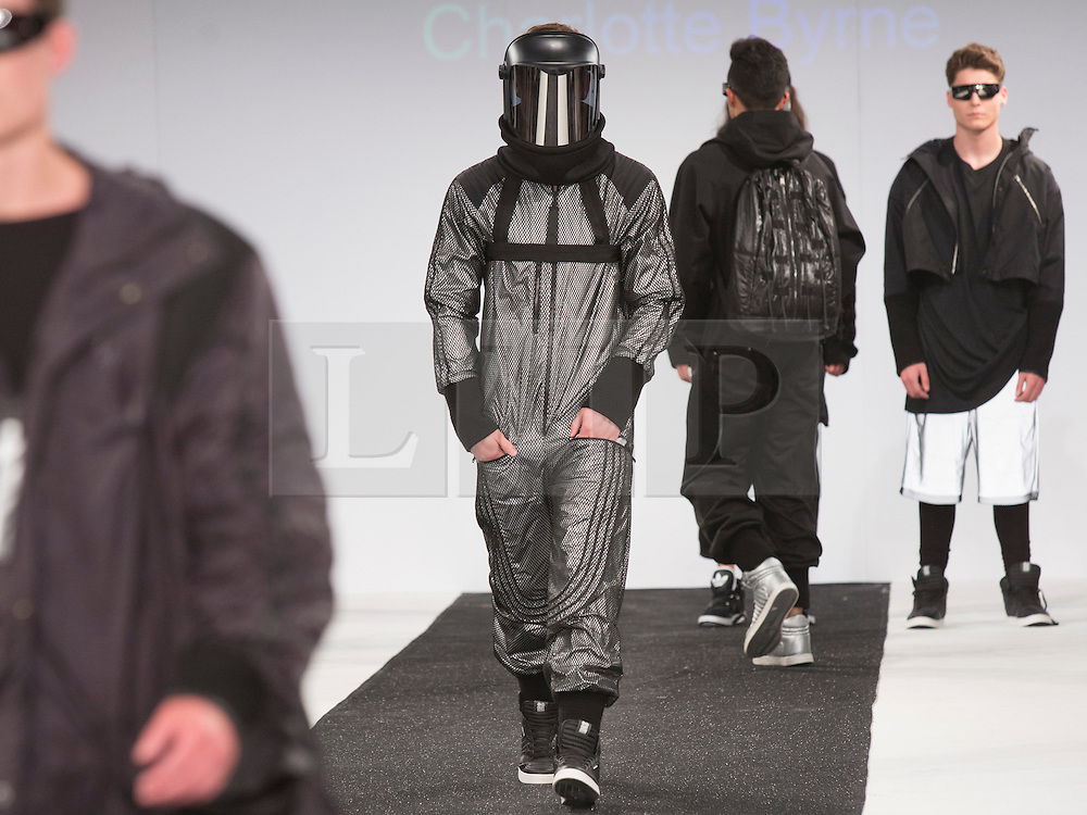 © Licensed to London News Pictures. 31/05/2015. London, UK. Collection by Charlotte Byrne. Fashion show of Northumbria University (Newcastle) at Graduate Fashion Week 2015. Graduate Fashion Week takes place from 30 May to 2 June 2015 at the Old Truman Brewery, Brick Lane. Photo credit : Bettina Strenske/LNP