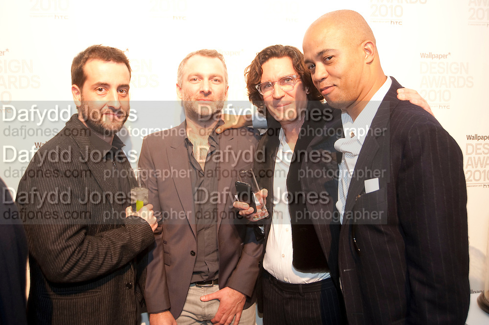 CHRIS REDFERN; THEO WILLIAMS; PATRICK MCINERNEY; LAWRENCE STEELE, Wallpaper* Design Awards. Wilkinson Gallery, 50-58 Vyner Street, London E2, 14 January 2010 *** Local Caption *** -DO NOT ARCHIVE-© Copyright Photograph by Dafydd Jones. 248 Clapham Rd. London SW9 0PZ. Tel 0207 820 0771. www.dafjones.com.<br /> CHRIS REDFERN; THEO WILLIAMS; PATRICK MCINERNEY; LAWRENCE STEELE, Wallpaper* Design Awards. Wilkinson Gallery, 50-58 Vyner Street, London E2, 14 January 2010