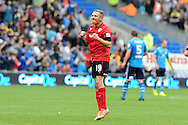 Cardiff city's Craig Bellamy celebrates after he scores his sides 1st goal. NPower championship, Cardiff city v Leeds United at the Cardiff city stadium in Cardiff, South Wales on Sat 15th Sept 2012.   pic by  Andrew Orchard, Andrew Orchard sports photography,