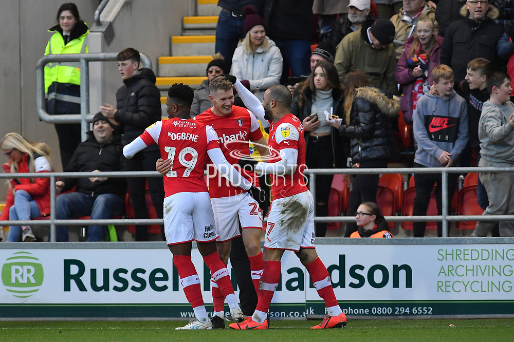 Rotherham United player Kyle Vassell (7), Rotherham United player Chiedozie Ogbene (19), and Rotherham United player Michael Smith (24) celebrates goal scored by Rotherham United player Michael Smith (24) to go 2-0 during the EFL Sky Bet League 1 match between Rotherham United and Bristol Rovers at the AESSEAL New York Stadium, Rotherham, England on 18 January 2020.