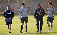Photo: Paul Thomas.<br />England training session. 05/02/2007.<br /><br />Terry Venables, John Terry, Steve MacLean and Stewart Downing walk down to training.
