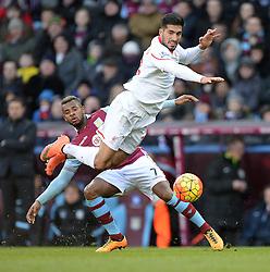 Leandro Bacuna of Aston Villa fouls Emre Can of Liverpool - Mandatory byline: Alex James/JMP - 14/02/2016 - FOOTBALL - Villa Park - Birmingham, England - Aston Villa v Liverpool - Barclays Premier League