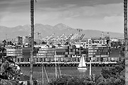 San Pedro CA; Terminal Island; Gantry Cranes; Shipping Containers; Thomas Vincent Bridge; Long Beach; Ca. Architectural; Southern California; USA