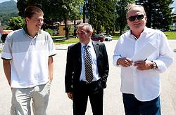 Director Goran Vojnovic, Roman Volcic and Bozidar Maljkovic during filming of video for Eurobasket Lithuania 2011 of Slovenian National Basketball team during training camp in Kranjska Gora, on July 12, 2011, in Kranjska Gora, Slovenia. (Photo by Vid Ponikvar / Sportida)