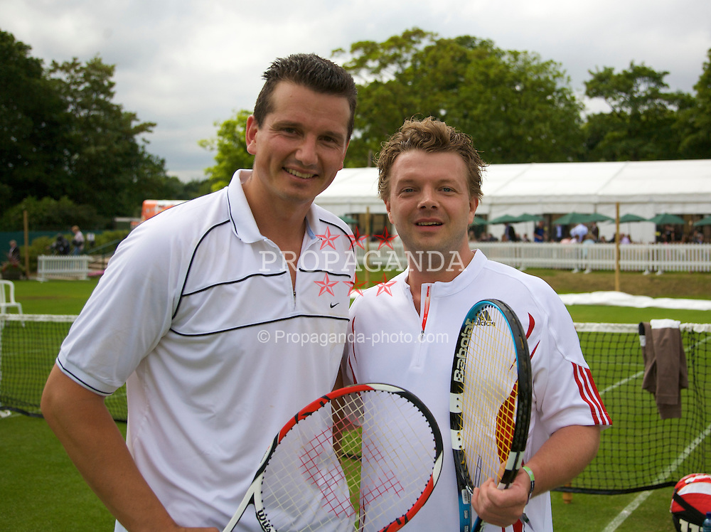 Liverpool, England - Friday, June 15, 2007: Richard Krajicek with a sponsor on day four of the Liverpool International Tennis Tournament at Calderstones Park. For more information visit www.liverpooltennis.co.uk. (Pic by David Rawcliffe/Propaganda)