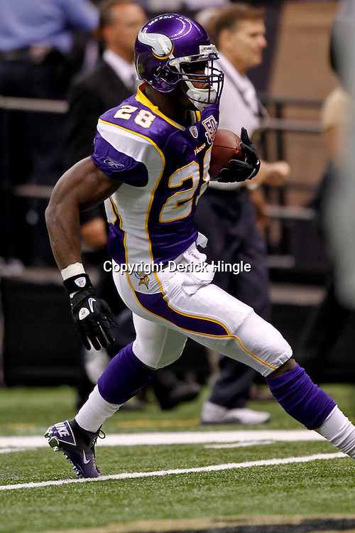 September 9, 2010; New Orleans, LA, USA; Minnesota Vikings running back Adrian Peterson (28) during warm ups prior to kickoff of the NFL Kickoff season opener at the Louisiana Superdome. The New Orleans Saints defeated the Minnesota Vikings 14-9.  Mandatory Credit: Derick E. Hingle