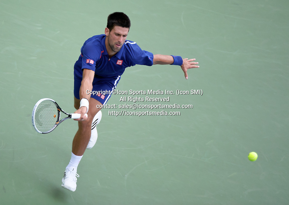 September 5, 2012: Serbia's Novak Djokovic (SRB) in action against Stanislas Wawrinka of Switzerland (SUI) during their fourth round Men's Singles match on Day 10 of the 2012 U.S. Open Tennis Championships at the USTA Billie Jean King National Tennis Center in Flushing, Queens, New York, USA. ***** SWITZERLAND OUT *****