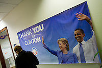 """25 October, 2008. Bristol, PA. A """"Thank you Senator Clinton"""" banner is here at the Obama volunteer Headquarters in Bristol, PA. After Senator Barack Obama won the Democratic Primary Campaign, Senator Hillary Clinton announced her support for Barack Obama and encouraged the Democratic Party to unite in electing him the next President of the United States. Obama volunteers from New York and New Jersey canvas in Bristol, PA, a white middle-class suburb 19 miles northeast from Philadelphia, PA. The Three Parks Independent Democrats group from the New York City Upper West Side organized a bus trip from the Upper West Side to Bristol, PA. Their goal is to canvas door-to-door in the suburbs, collecting statistics and trying to convince undecided voters to vote for Sen. Barack Obama. Pennsylvania is an Obama leading state that Sen. John McCain has been looking to turn Republcan. Pennsylvania will be a key state on election day, since it has 21 electoral votes.<br /> The Obama volunteers in New York have been helping the campaign for weeks organizing phone banking, fund raisings, canvas, concerts, fashion shows, etc.<br /> <br /> <br /> ©2008 Gianni Cipriano for The New York Times<br /> cell. +1 646 465 2168 (USA)<br /> cell. +1 328 567 7923 (Italy)<br /> gianni@giannicipriano.com<br /> www.giannicipriano.com"""