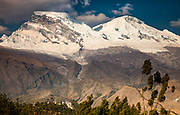 Huascaran, two summits, 6768 metres, highest peak in Cordillera Blanca, above city of Yungay, near Huaraz, Andes mountains, Peru