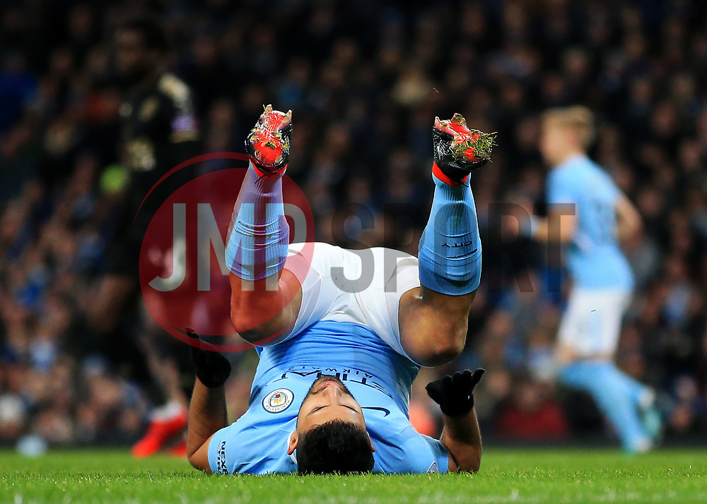 Sergio Aguero of Manchester City reacts after missing a chance - Mandatory by-line: Matt McNulty/JMP - 10/02/2018 - FOOTBALL - Etihad Stadium - Manchester, England - Manchester City v Leicester City - Premier League