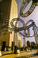 Yokohama Yoyo Place sculpture (Landmark Tower in background), Minato Mirai 21 waterfront development, Yokohama, Japan
