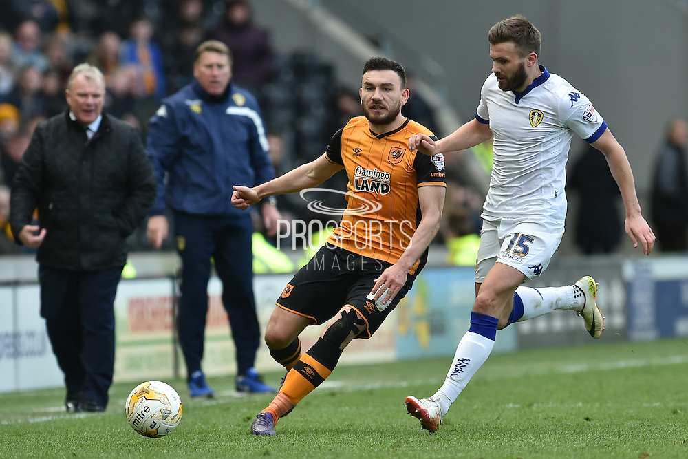 Hull City midfielder Robert Snodgrass (10) and Stuart Dallas (15) of Leeds United during the Sky Bet Championship match between Hull City and Leeds United at the KC Stadium, Kingston upon Hull, England on 23 April 2016. Photo by Ian Lyall.