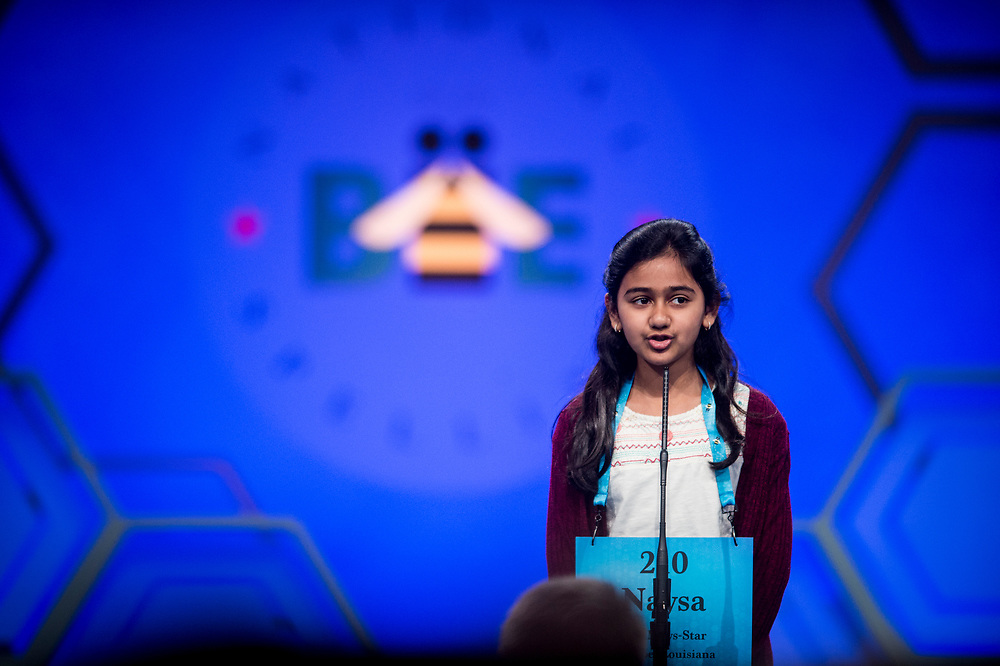 Naysa Modi, 11, from Monroe, La., participates in the finals of the 2017 Scripps National Spelling Bee on Thursday, June 1, 2017 at the Gaylord National Resort and Convention Center at National Harbor in Oxon Hill, Md.      Photo by Pete Marovich/UPI