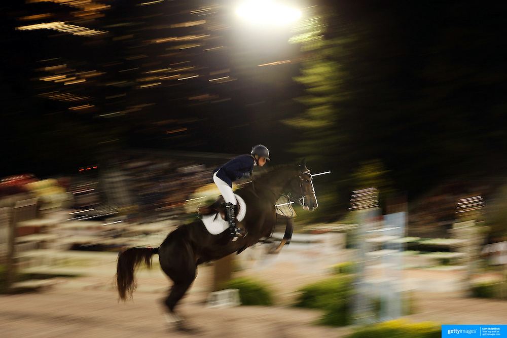Candice King, USA, riding Kismet 50, in action during the $210,000 Central Park Show Jumping Grand Prix held in the Wollman Ice Rink. The event was part of the four Day Central Park Horse Show. Central Park, Manhattan, New York, USA. 18th September 2014. Photo Tim Clayton