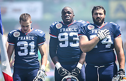 07.06.2014, Ernst Happel Stadion, Wien, AUT, American Football Europameisterschaft 2014, Spiel um Platz 3, Frankreich (FRA) vs Finnland (FIN), im Bild Maxime Venot Petit , (Team France, DB , #31),  Christian  N Zedieu , (Team France, DL , #93) und  Jean Philippe  Eldin , (Team France, OL , #74) // during the American Football European Championship 2014 game for place 3 between France and Finland at the Ernst Happel Stadion, Vienna, Austria on 2014/06/07. EXPA Pictures © 2014, PhotoCredit: EXPA/ Thomas Haumer