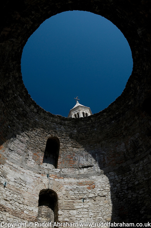 The Vestibule and cathedral bell tower, in Diocletian's Palace, a UNESCO World Heritage Site, Split, Croatia