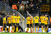 Wolves players celebrate Wolverhampton Wanderers forward Raul Jimenez (9) goal 1-0 during the The FA Cup match between Wolverhampton Wanderers and Manchester United at Molineux, Wolverhampton, England on 16 March 2019.