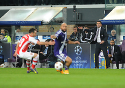 Anderlecht Manager, Besnik Hasi urges his tean forward  - Photo mandatory by-line: Dougie Allward/JMP - Mobile: 07966 386802 - 22/10/2014 - SPORT - Football - Anderlecht - Constant Vanden Stockstadion - R.S.C. Anderlecht v Arsenal - UEFA Champions League - Group D