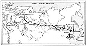The route of the Trans-Siberian Railway. From 'La Nature',  Paris, 1904. Engraving.