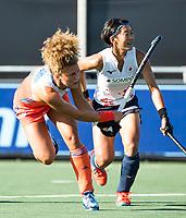 BREDA - Maria Verschoor (Ned) scoort 4-1  tijdens de finale  Nederland-Japan van de 4 Nations Trophy dames 2018 . rechts Kana Nomura (Jap) . COPYRIGHT KOEN SUYK