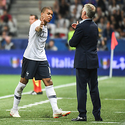 Kylian Mbappe of France shakes hand with Didier Deschamps coach of France during the International Friendly match between France and Italy at Allianz Riviera Stadium on June 1, 2018 in Nice, France. (Photo by Anthony Dibon/Icon Sport)