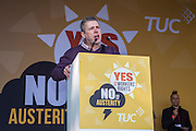 Mark Serwotka of PCS speaking to his memebers at the TUC demo at the Conservative party conference, Manchester. 4th October 2015