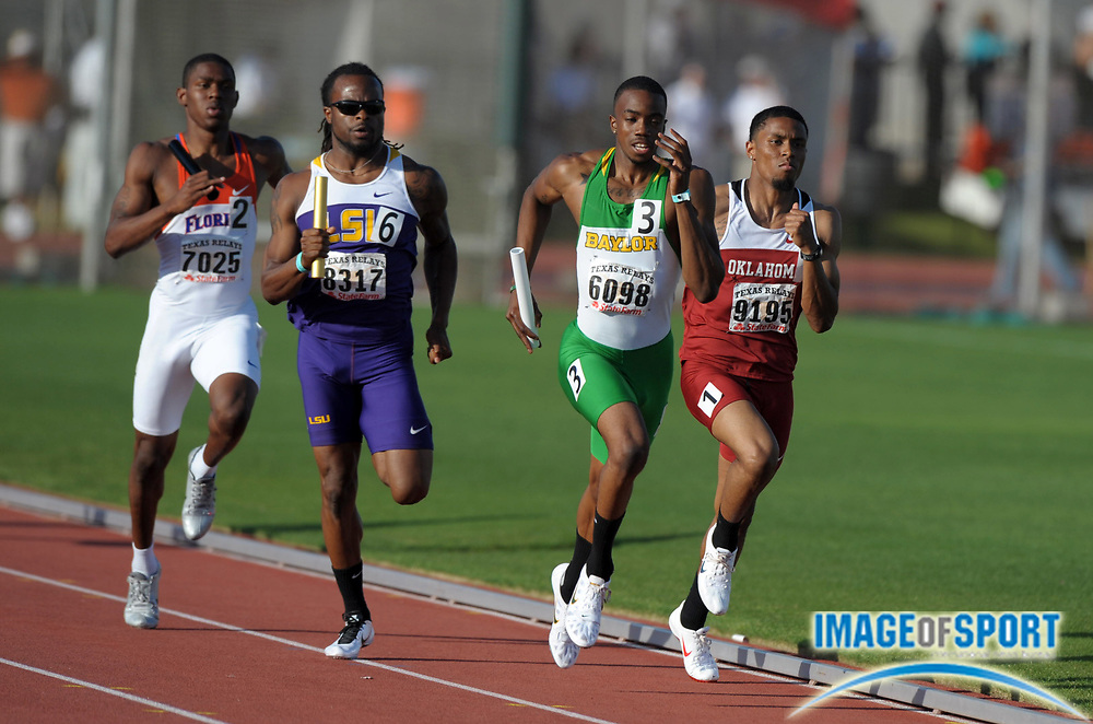 Mar 31, 2012; Austin, TX, USA; Eric Kay of Oklahoma, Blake Herriot of Baylor and Caleb Williams of LSU and Dedric Dukes of Florida run the second leg of the 4 x 400m relay in the 85th Clyde Littlefield Texas Relays at Mike A. Myers Stadium. LSU won in 3:04.54.
