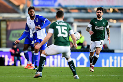Mark Little of Bristol Rovers is marked by Conor Grant of Plymouth Argyle - Mandatory by-line: Ryan Hiscott/JMP - 01/12/2019 - FOOTBALL - Memorial Stadium - Bristol, England - Bristol Rovers v Plymouth Argyle - Emirates FA Cup second round