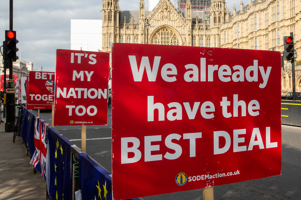 Anti Brexit signs by the pro EU demonstrators who have been outside parliament on a daily basis since September 2017 after the country voted to leave the European Union. House of Commons, Westminster, London, United Kingdom  (photo by Andrew Aitchison / In Pictures via Getty Images)