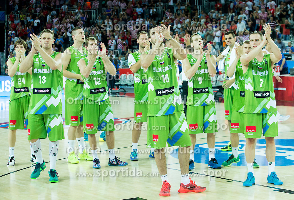 Players of Slovenia after the basketball match between Croatia and Slovenia at Day 1 in Group C of FIBA Europe Eurobasket 2015, on September 5, 2015, in Arena Zagreb, Croatia. Photo by Vid Ponikvar / Sportida