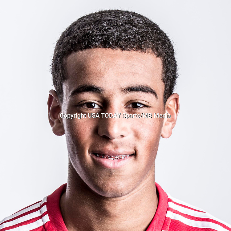 Feb 25, 2017; USA; New York Red Bulls player Tyler Adams poses for a photo. Mandatory Credit: USA TODAY Sports