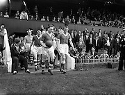 11/09/1960<br /> 09/11/1960<br /> 11 September 1960<br /> Soccer International Ireland v Iceland at Dalymount Park, Dublin. Ireland led by Captain R. Nolan, (left) and Iceland led by their Captain S. Teitsson enter the pitch at Dalymount.