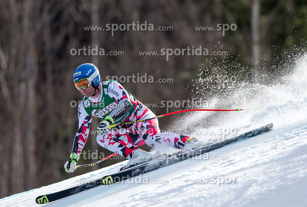 27.02.2016, Hannes Trinkl Rennstrecke, Hinterstoder, AUT, FIS Weltcup Ski Alpin, Hinterstoder, Super G, Herren, im Bild Romed Baumann (AUT) // Romed Baumann of Austria competes during his run of men's Super G of Hinterstoder FIS Ski Alpine World Cup at the Hannes Trinkl Rennstrecke in Hinterstoder, Austria on 2016/02/27. EXPA Pictures © 2016, PhotoCredit: EXPA/ Johann Groder