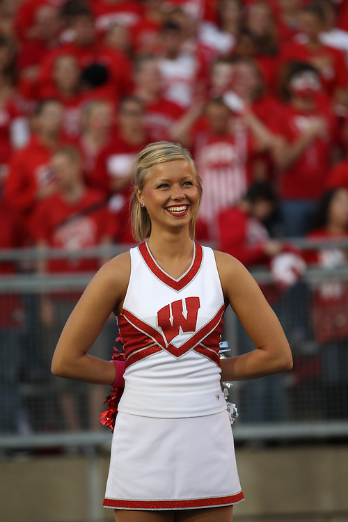 MADISON, WI - OCTOBER 16: Cheerleader of the Wisconsin Badgers cheers against the Ohio State Buckeyes at Camp Randall Stadium on October 16, 2010 in Madison, Wisconsin. Wisconsin defeated Ohio State 31-18. (Photo by Tom Hauck)
