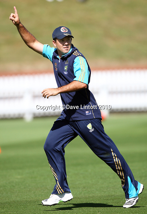 Ricky Ponting.<br /> Australian cricket training at Allied Prime Basin Reserve, Wellington. Tuesday, 16 March 2010. Photo: Dave Lintott/PHOTOSPORT