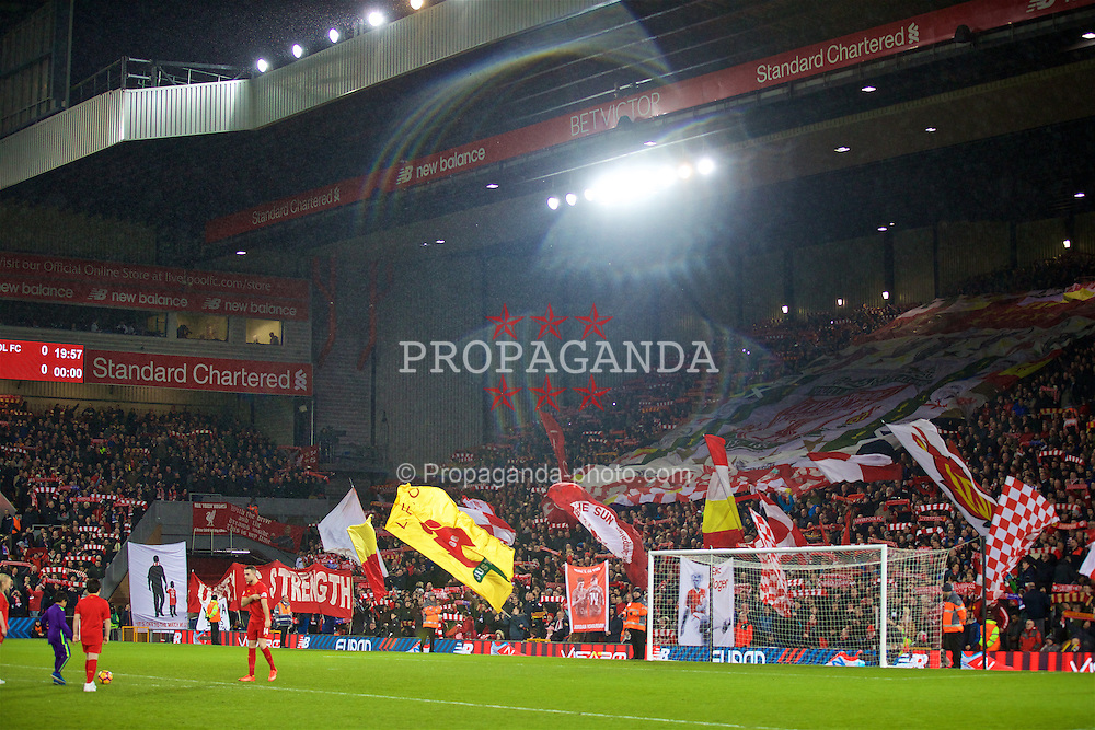 LIVERPOOL, ENGLAND - Tuesday, January 31, 2017: Liverpool supporters on the Spion Kop before the FA Premier League match against Chelsea at Anfield. (Pic by David Rawcliffe/Propaganda)
