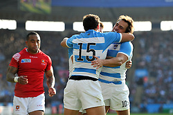Nicolas Sanchez of Argentina is congratulated on his try by team-mate Joaquin Tuculet - Mandatory byline: Patrick Khachfe/JMP - 07966 386802 - 04/10/2015 - RUGBY UNION - Leicester City Stadium - Leicester, England - Argentina v Tonga - Rugby World Cup 2015 Pool C.