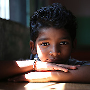 MUMBAI, INDIA - JANUARY, 31, 2016: Sunny Pawar, 8, poses for a picture in his school in Mumbai, India. <br />