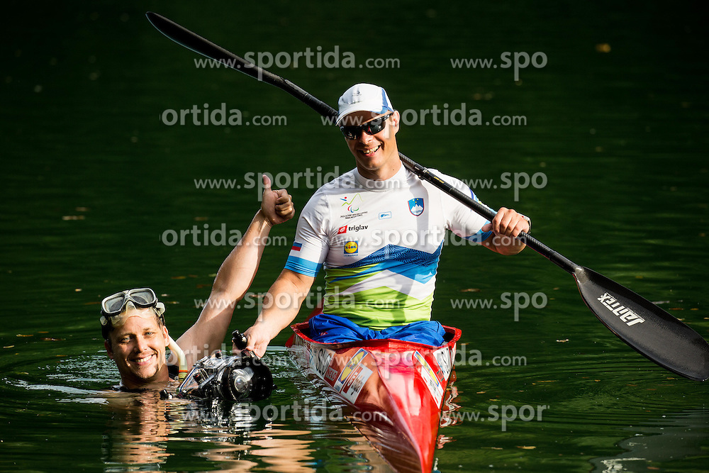 Photographer Vid Ponikvar and Dejan Fabcic, Slovenian Para canoeist during Media day of the National Paralympic Committee (NPC) of Slovenia before Paralympic Games in Rio, on August 2, 2016 at Soca River, Nova Gorica, Slovenia.