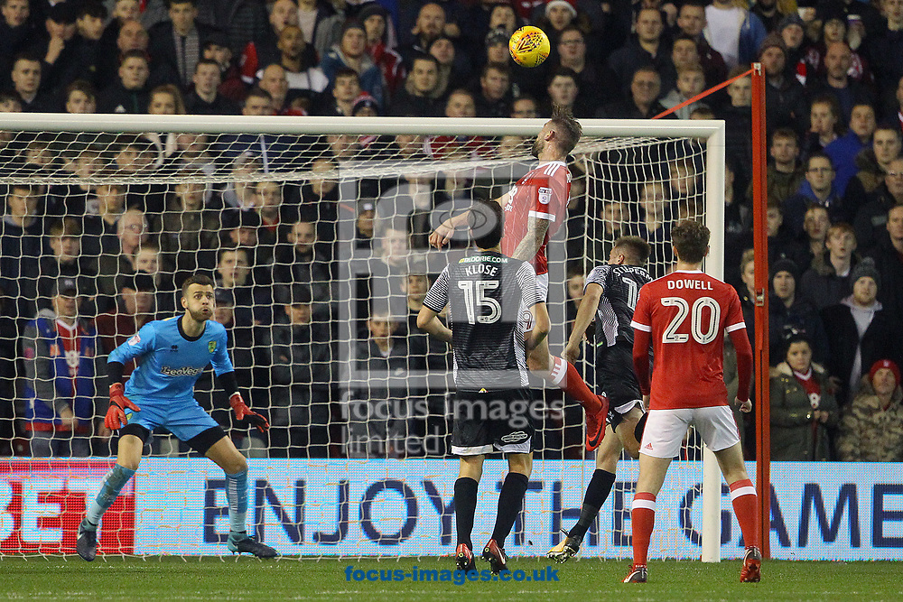 Daryl Murphy of Nottingham Forest heads for goal during the Sky Bet Championship match at the City Ground, Nottingham<br /> Picture by Paul Chesterton/Focus Images Ltd +44 7904 640267<br /> 21/11/2017