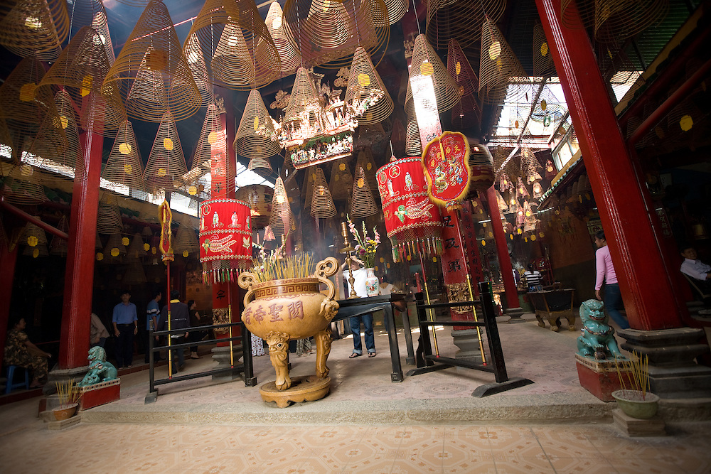 inside a buddhist temple in Can Tho, Vietnam