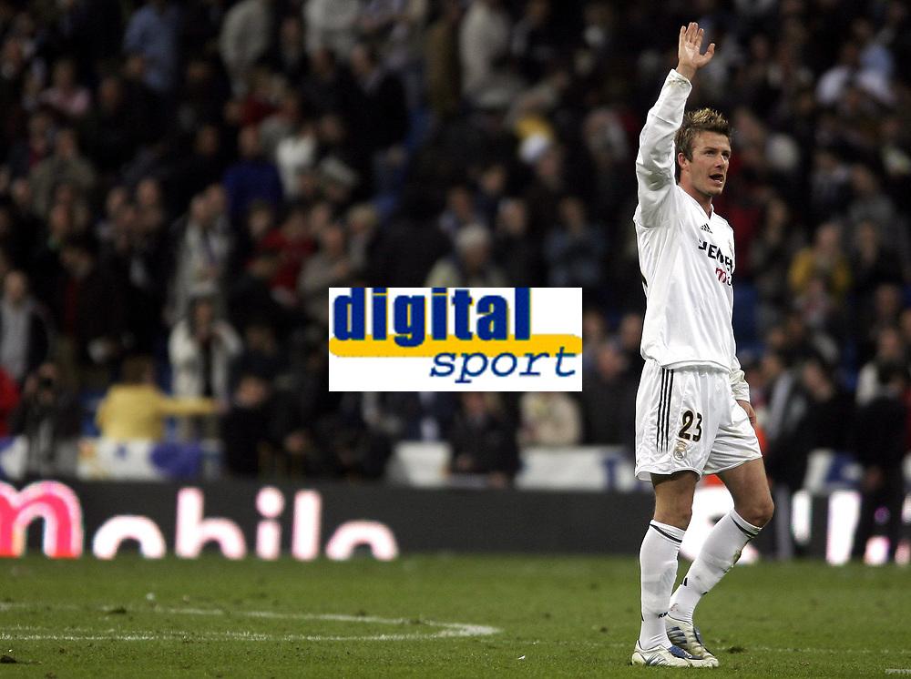 Fotball<br /> Spania 2004/05<br /> Real Madrid v Barcelona<br /> 10. april 2005<br /> Foto: Digitalsport<br /> NORWAY ONLY<br /> Real Madrid's David Beckham after the match in Madrid