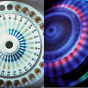 On right: <br /> Looking down at a centrifuge before it starts to test the sample .<br /> <br /> On left: <br /> Looking down at a centrifuge testing the samples  at a very high speed using a blue light to show the separation.<br /> <br /> Centrifuges are used in chemistry, biology, and biochemistry and in forensics DNA for isolating and separating suspensions.